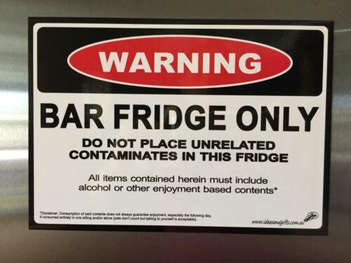 A5 Bar Beer Fridge Only Warning Dad Man Cave Funny Joke Novelty Magnet Minion