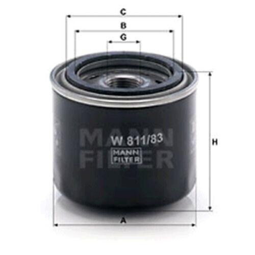Filtro de aceite W811//83 Mann giran en 74mm altura 82mm diámetro exterior Servicio