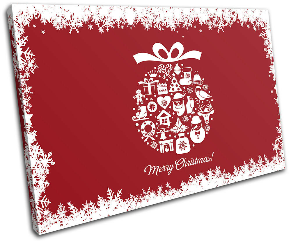 Christmas Decoration Wall Canvas ART Print XMAS Picture Gift  02 rouge Christmas S