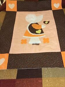 Vintage-handmade-Baby-Quilt-Crib-Throw-Blanket-Sunbonnet-Sue-W-Lace-54-x44-LARGE