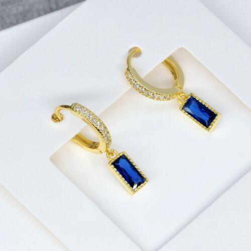 Baguette Cut Sapphire Blue Crystal Huggies Hoop Earrings