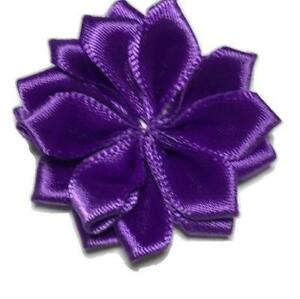 "3 pieces Lavender 1.5/"" satin petal flower with pearl center //DIY headband"