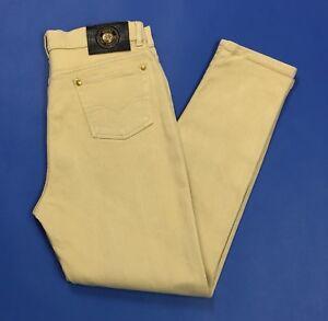 Jeans-mash-donna-usato-stretch-skinny-w36-tg-50-denim-beige-vita-alta-hot-T3237