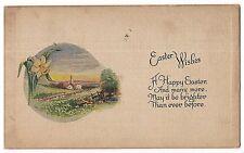 EASTER WISHES Happy Church Scene Daffodil Flower Vintage Postcard 1922