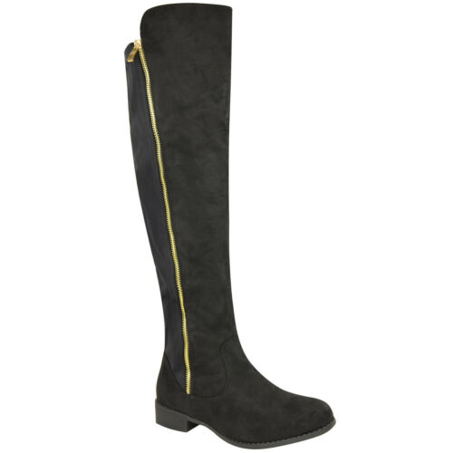 Womens Ladies Stretch Flat Low Heel Knee High Riding Boots Winter Wide Leg Size