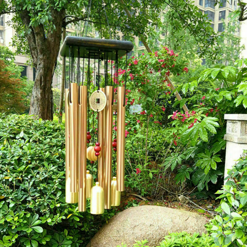 Large Wind Copper Bells Chimes Garden Yard Home Tubes Ornament Decor Outdoor EM