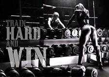 Train Hard Motivational Gym A3 Print Poster - bum model legs muscles