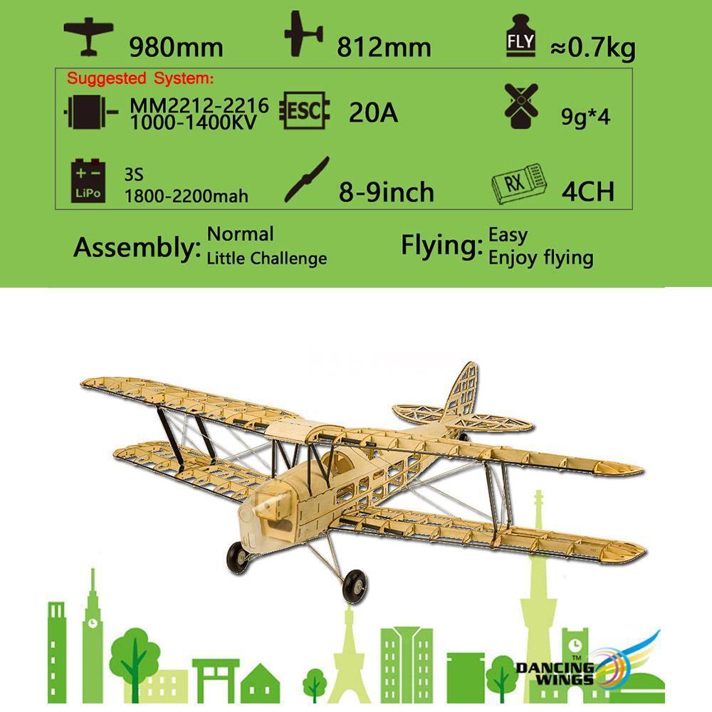 Dancing  Hobby S1901 Balsa Wood RC Airplane Tiger Moth Remote Control X3C8