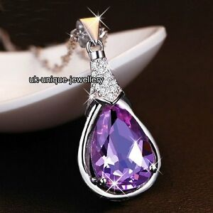 Jewellery-Gifts-For-Her-Silver-amp-Purple-Crystal-Necklace-Women-Mothers-Day-Mum