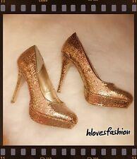 Barratts Gold Glitter Stiletto Platform Heels UK 7 EU 40 US 9✨ 👠 ✨RRP £40