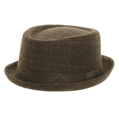 PORK PIE Felt Hat Ska//Indie//Mod Men M-L Grey Tweed Check NEW//BNWT Vtg Style