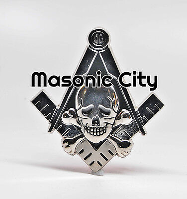 Z-176  SILVER Widows Son Masonic Auto Emblem FreeMasonry Compass Square Skull