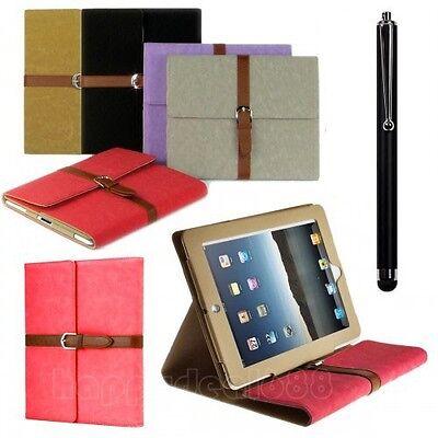 Belt Buckle Premium Leather Flip Stand Case Cover For iPad 4 / 3 / 2 Sleep Awake