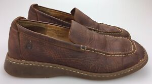 Born-Mens-Loafer-Shoes-Size-10-5-44-5-M-Brown-Leather-Slip-On-Moccasin-Moc-Toe