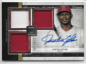 2020 Topps Museum Collection Justin Upton Signature Swatches Jersey Auto SP /199
