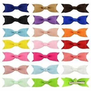 Ribbon 20 Colors Solid Barrettes Bowknots Kids Candy Color Hair Clip 1Pair