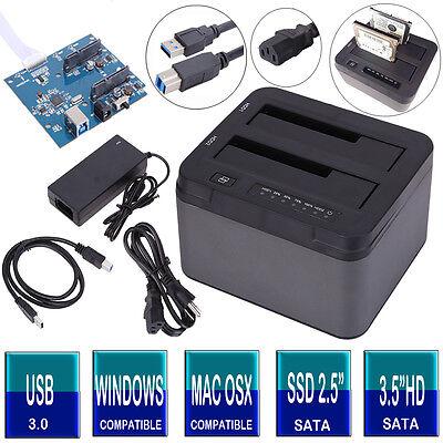 "USB 3.0 SATA Dual Bay 2.5""/3.5"" HDD Hard Drive Card/Dock Docking Station Adapter"
