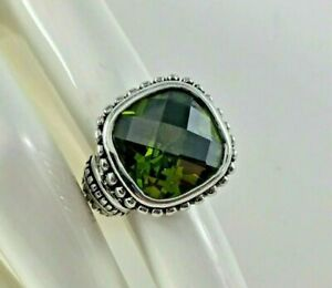 Premier Design PD Olive Green Ring 6 Silver Tone Signed Statement Party Jewelry