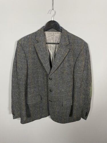 Harris Tweed Chaqueta/Blazer - 40S-Gris-Lana-Excelente Estado-Para Hombre