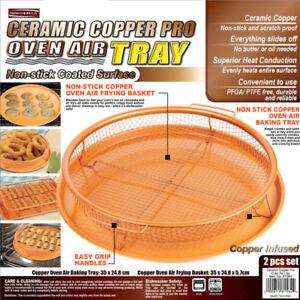 Kitchen-Ceramic-Steel-Round-Copper-Crisper-Tray-Fried-Food-Oil-OVEN-Plate-Set