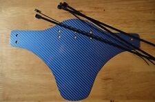 Mud guard for Mountain Bike - black Plactik  with blue 5d Carbon Fiber Vinyl