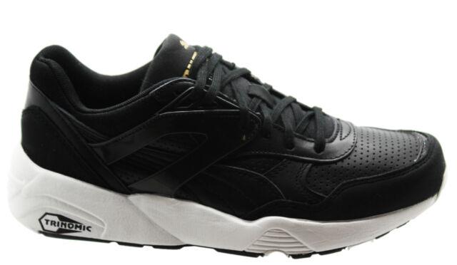 Puma Trinomic R698 Core Leather Men Trainers Running Shoes Black 360601 02  B6C