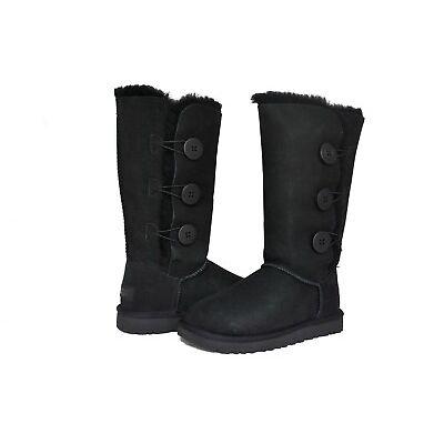 UGG Australia Women Bailey Button Triplet 2 II Boots 1016227 Black Chestnut Grey