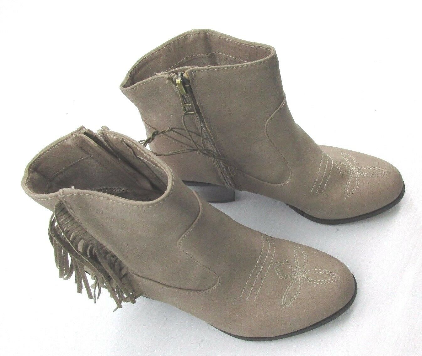NWT *SAM & LIBBY* SIZE 6 TAN FAUX LEATHER SIDE ZIP ANKLE BOOTS