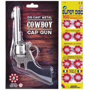 Metal Cowboy Fusil avec Shot Caps Toy faux Garçon Enfants Wild West Fun pistolet revolver  </span>