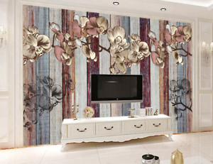 3D Wood Flower color 8 Wall Paper Murals Wall Print Wall Wallpaper Mural AU Kyra