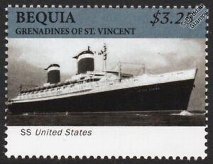 à Condition De Ss United States Luxe Ocean Liner/passagers De Paquebots De Croisière Stamp (bequia)-afficher Le Titre D'origine Complet Dans Les SpéCifications