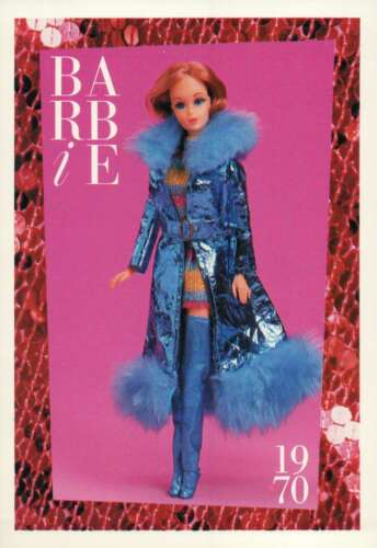 "botas 1970 Barbie Colecionável Fashion Trading Card /""Maxi /'n Mini/"" Mylar Casaco"