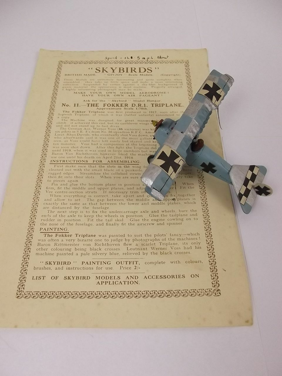 Givejoy Toys Skybirds 1 72nd Scale Aircraft Fokker D.R.1 Triplane In bluee