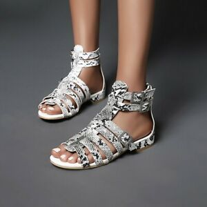 Women-039-s-Summer-Snake-Print-Sandals-Flats-Buckle-Hollow-Out-Gladiator-Pumps-Shoes