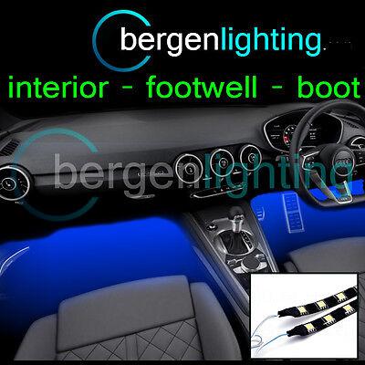 2X 375MM BLUE INTERIOR UNDER DASH/SEAT 12V SMD5050 DRL MOOD LIGHTING STRIPS