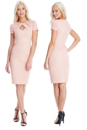 Goddess Nude Pleated Front Keyhole Fitted Pencil Cocktail Evening Party Dress