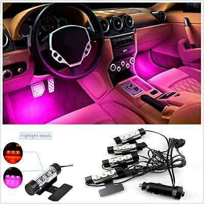 Car Interior Footwell Decorative Pink Glow Neon 12LED Atmosphere Light Strip