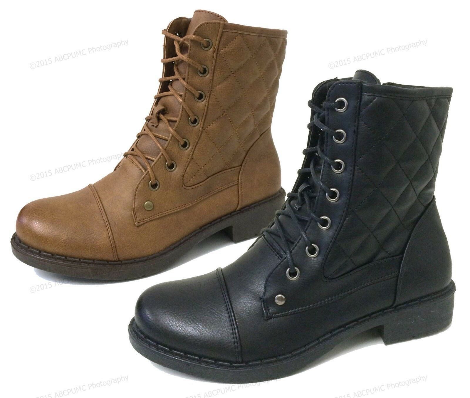 Womens Military Boots Lace Up Faux Leather Quilted Fur Lined Zipper Combat Sizes