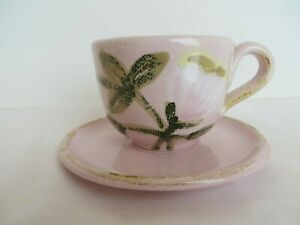 New-Vietri-Potttery-Pink-White-Tulip-Cup-amp-Saucer