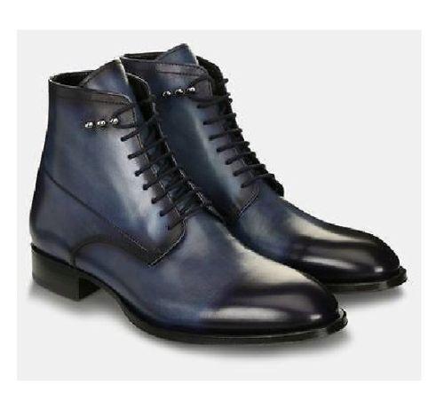 Uomo Fatto Blu A Mano Pelle Scarpe Blu Fatto Navy Alto Caviglia Stivali Boots 26d9e9