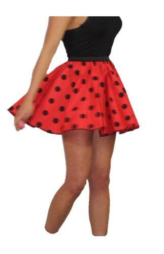 """Adults Red /& Black Polka Dot 15/"""" Skater Skirt Full Circle Fancy Dress 60s 70s"""