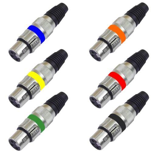 4 Stück XLR KUPPLUNG Buchse in 6 verschiedenen Farben zu Neutrik kompatibel