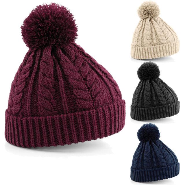 Cable Knit Bobble Beanie Hat Men Women Children Winter Christmas Gift Kids BNWT