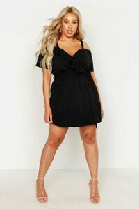 BOOHOO-Plus-Plunge-Ruffle-Belted-Mini-Dress-in-Black-jo25