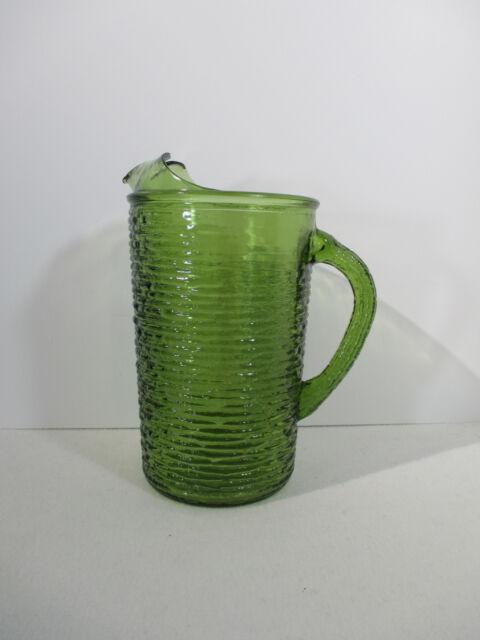 Soreno Green Glass Pitcher Mid Century Anchor Hocking Ripples Vintage Kitchen