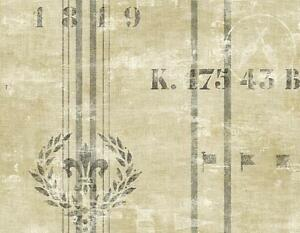 Wallpaper-Designer-Nautical-Gray-Stripe-on-Beige-Faux-Linen-With-Wreath-amp-Flags