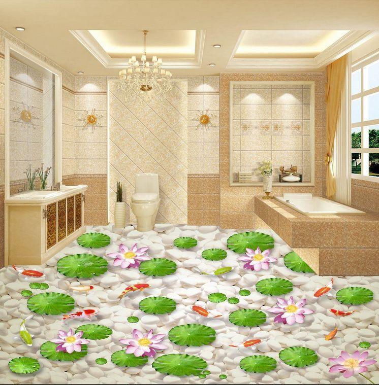 3D pietra bianco fiore Pavimento Foto Wallpaper Murales Muro Stampa Decalcomania