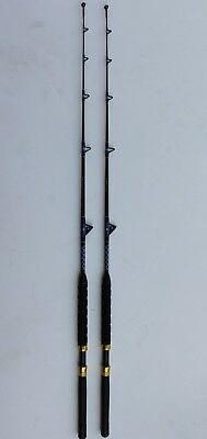 PAIR OF XCALIBER MARINE RODS SALTWATER TURBO GUIDES 20-40 LB GOLD AND RED TRIM