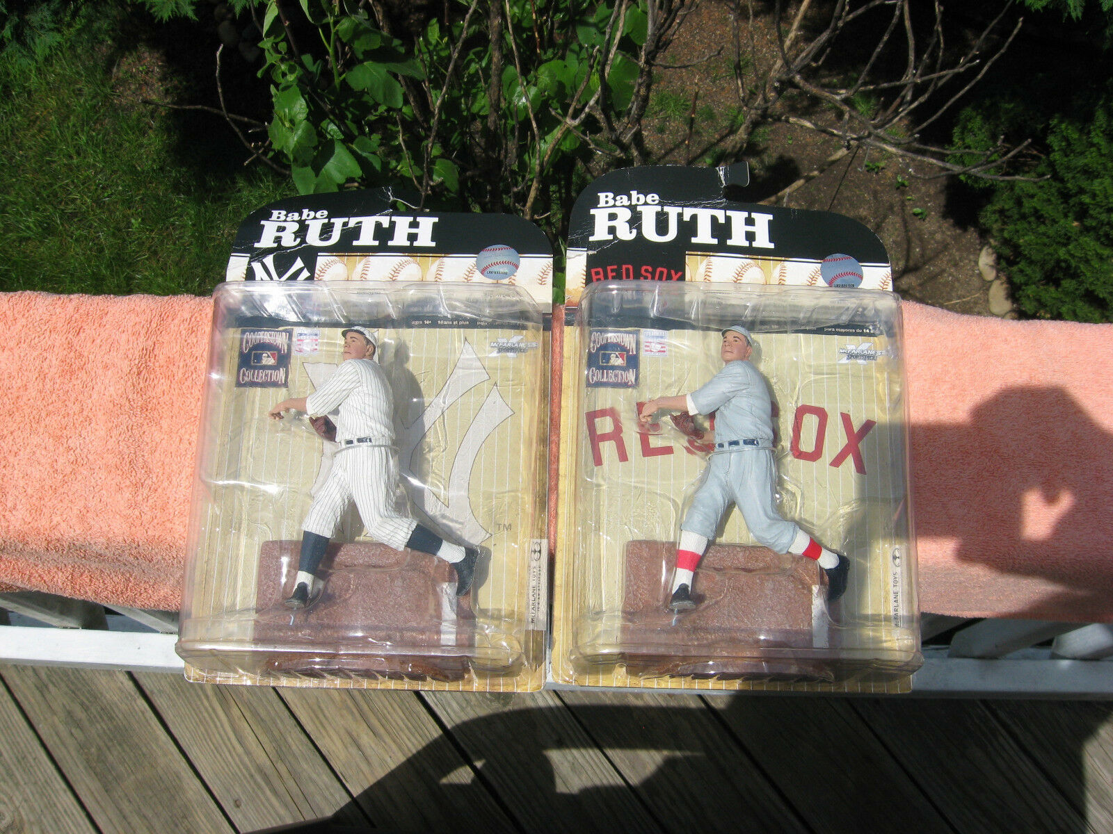 Lot of 2 Babe Ruth Red Sox & Yankees Cooperstown Collection Action FigureNew