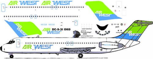 AirWest lime//blue DC-9-31 airliner pointerdog7 decals for Airfix 1//144 kits